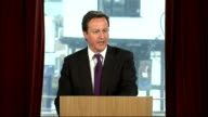 David Cameron speech on immigration ENGLAND Hampshire Southampton INT David Cameron MP along to podium and speech SOT A year ago we were in the...