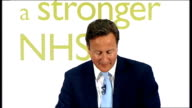 David Cameron speech on NHS reforms Cameron speech SOT That's a message we've heard clearly from the Royal College of Nursing / So let me be clear we...