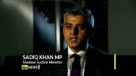 David Cameron speech on punishment and rehabilitation of offenders INT Sadiq Khan MP interview SOT