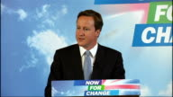 Lancashire Bolton INT David Cameron MP speech SOT introductory comments In America today there is a real debate going on about healthcare But here in...