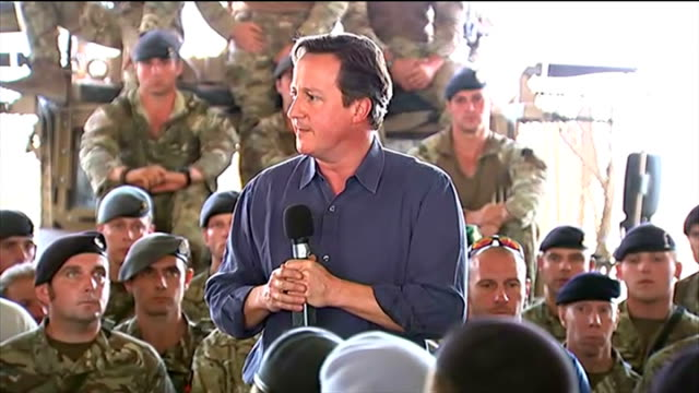 David Cameron speech to British troops AFGHANISTAN Camp Bastion INT David Cameron MP speech to British troops SOT