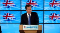 David Cameron speech to Conservative Party members in Kent Cameron speech SOT We're changing the policies we're changing the values of government /...