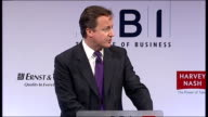 David Cameron speech to the CBI Cameron speech SOT I'm not interested in ideological arguments about intervention versus laissez faire I want an...