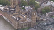 David Cameron the Conservatives win election Shows exterior aerial shots pan around the Palace of Westminster Big Ben on May 08 2015 in London England