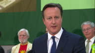 David Cameron the Conservatives win election Shows interior shots David Cameron making acceptance speech talks about VE Day Conservative plans for...