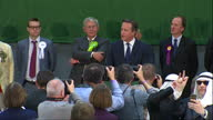 David Cameron the Conservatives win election Shows interior shots David Cameron finishing declaration thanking audience before walking off the stage...