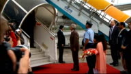 arrival PAKISTAN Rawalpindi Chaklala Airbase EXT Dignitaries and military personnel on runway awaiting David Cameron arrival/ Prime Minister David...