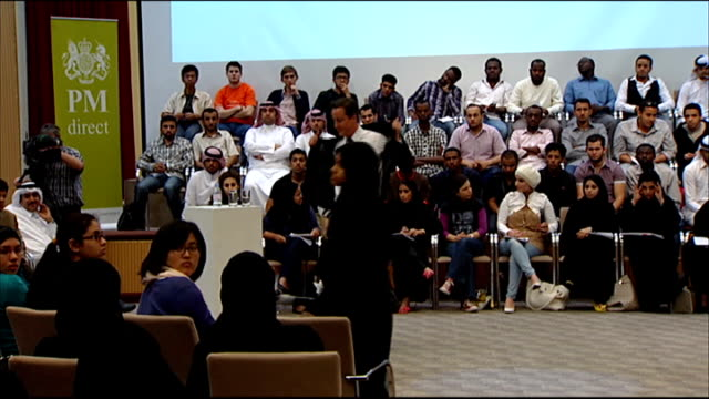 QA at Qatar University Cameron answering questions from audience members SOT On Palestine UN resolutions / illegal settlements / we're the United...