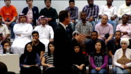 QA at Qatar University QATAR Qatar University PHOTOGRAPHY** David Cameron MP arriving in room and speaking to audience SOT This is the first time...