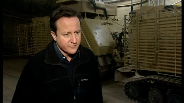 David Cameron visit to Camp Bastion AFGHANISTAN Helmand Province Camp Bastion David Cameron MP interview SOT clear timetable for transition in...