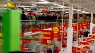 David Cameron visits Asda Supermarket at Clapham Junction Cameron touring supermarket / Cameron on escalator / Cameron chatting to Asda workers...