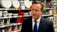 David Cameron visits Asda Supermarket at Clapham Junction David Cameron MP interview SOT On 12000 new Asda jobs / we want jobs jobs and more jobs /...