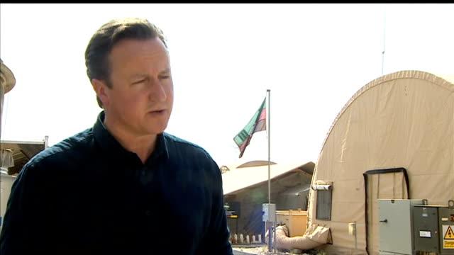 David Cameron visits British troops in Helmand Province David Cameron interview AFGHANISTAN Lashkar Gah Camp Bastion INT David Cameron MP interview...