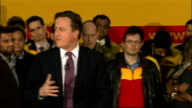 David Cameron visits DHL Express Headquarters Question and Answer Session Cameron answering questions SOT On what companies like DHL can do to help...