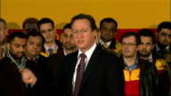 David Cameron visits DHL Express Headquarters Question and Answer Session Question and Answer session HERE** Cameron answering questions SOT On the...