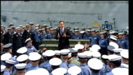 David Cameron visits HMS Ark Royal in Canada CANADA Nova Scotia Halifax EXT Various of David Cameron MP meeting officers and ratings on board HMS Ark...