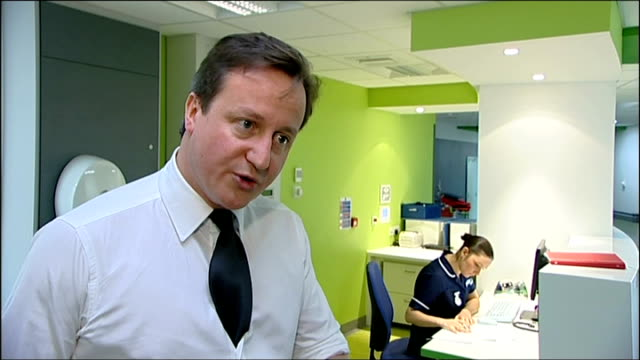 David Cameron visits Salford hospital / Comments on Anuj Bidve murder David Cameron MP interview SOT On nursing standards very high / Some limited...