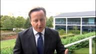 David Cameron visits small business innovation centre in Cambridge ENGLAND Cambridgeshire Cambridge St Johns Innovation Centre EXT David Cameron MP...