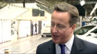 David Cameron visits Toyota car factory in Derbyshire Cameron interview SOT On arrangements for public sector strike over pension reforms / will do...