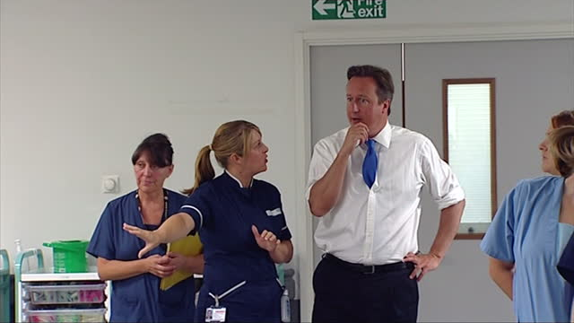 David Cameronon walkabout tour of Salford Hospital meeting nurses David Cameron Salford Hospital walkabout on August 08 2013 in London England