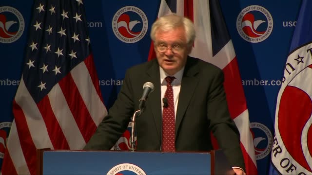 Washington DC US Chamber of Commerce INT Myron Brilliant introduction SOT David Davis MP speech SOT re AngloAmerican relations / Brexit / free trade...