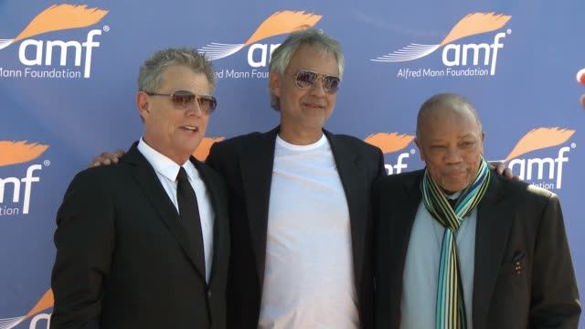 David Foster Andrea Bocelli Quincy Jones at Alfred Mann Foundation's An Evening Under the Stars with Andrea Bocelli in Los Angeles CA