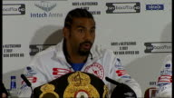 David Haye and Wladimir Klitschko fight preview ENGLAND London INT **some flash photography throughout** Various views of boxers David Haye and...