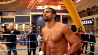 David Haye press conference and photocall Haye posing for photocall in ring without tshirt including close ups of his Union Jack boxing shots