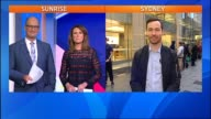 David Koch and Natalie Barr in studio live cross to Tech Expert Val Quinn outside Apple store in background queue of people outside Apple store for...