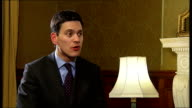 David Miliband speaks out on Britain's moral duty to spread democracy ENGLAND London Foreign Office INT David Miliband MP interview SOT Can use range...