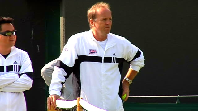 Murray practising ENGLAND London Wimbledon EXT Andy Murray practising before Great Britain's Davis Cup match v Austria as Davis Cup Captain John...