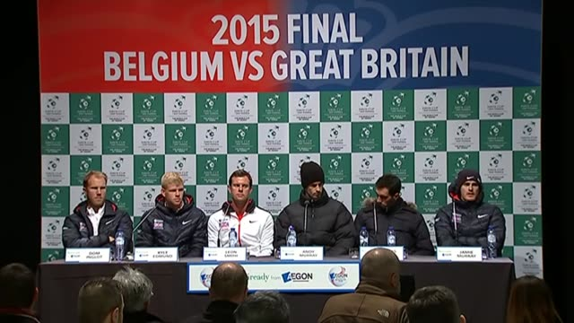 Davis Cup press conference Dominic Inglot Kyle Edmund Leon Smith Andy Murray James Ward and Jamie Murray press conference SOT