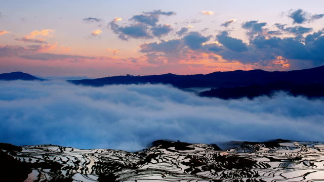 dawn of terraces in the clouds