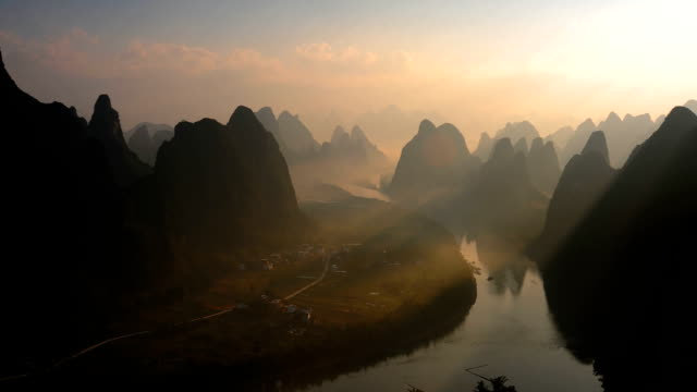 Dawn of the li river and hills