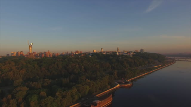 Dawn over the Dnieper River in Kiev. Aerial view