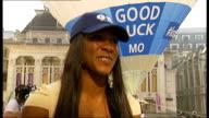 Day 15 Mo Farah wins gold in men's 5000m 'Good Luck Mo' slogan on hot air balloon Tasha Danvers interview SOT