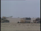 Day 39 Royal Artillery at the front SAUDI ARABIA British Army tent as being blown about in wind Soldiers about as sand storm raging Soldier along in...