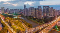 Day to Night 4K Time-lapse:Hangzhou cityscape with the Grand Canal at dusk,China