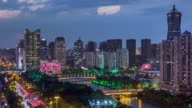 Day to Night 4K Time-lapse:Illuminated Hangzhou skyline at night,China