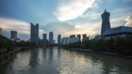 Day to Night 4K Time-lapse:Ships sailing along the Grand Canal amidst buildings in city,Hangzhou,China