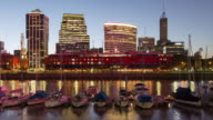 TL, MS Day to night, boats, restaurants and office buildings in Puerto Madero / Buenos Aires, Argentina
