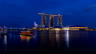 Day to night looking at Marina Bay Sands Hotel