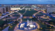 TL. MS, HA Day to night of Brasilia central cityscape across Eixo Monumental / Brasilia, Brazil