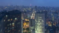 TL, MS, HA Day to night of Sao Paulo cityscape with Copan Building / Sao Paulo, Brazil