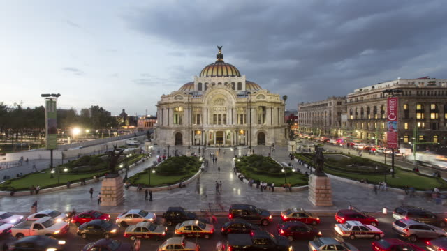 WS, TL Day to night of traffic and Bellas Artes building in Centro Historico / Mexico City, Mexico