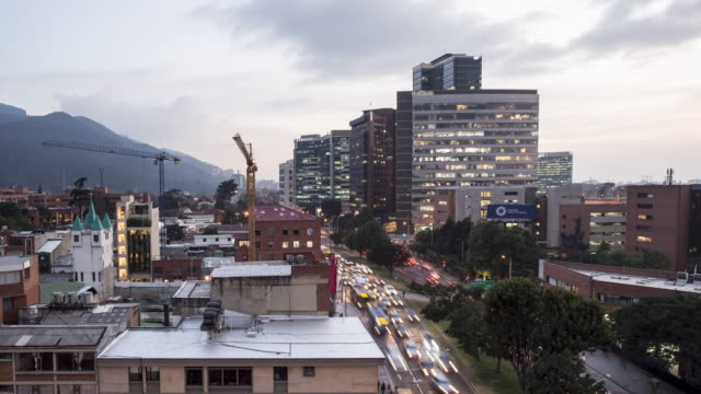 TL, WS Day to night of traffic in Usaquen district, Bogota / Bogota, Colombia