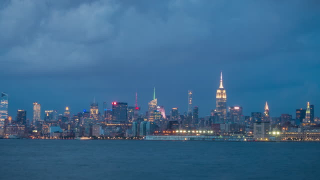 Day to night time lapse of downtown Manhattan in New York City