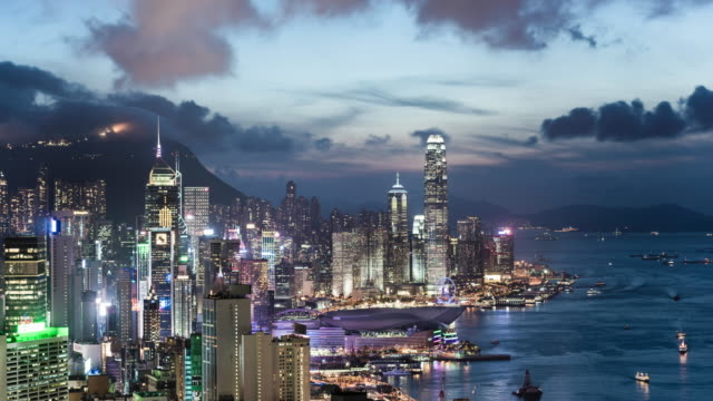 day to night time lapse of Hong Kong Island and Victoria Bay