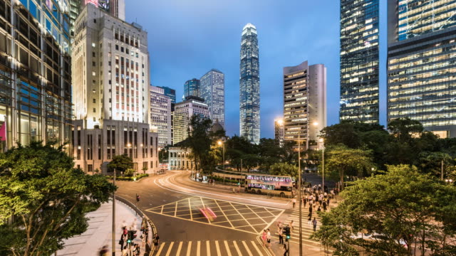 day to night time lapse of Hong Kong Island's financial district