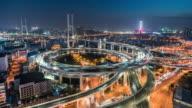 day to night time lapse of nanpu bridge